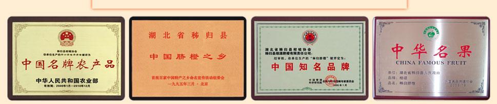 中国农业部颁发中国名牌农产品,中国知名品牌,中华名果荣誉